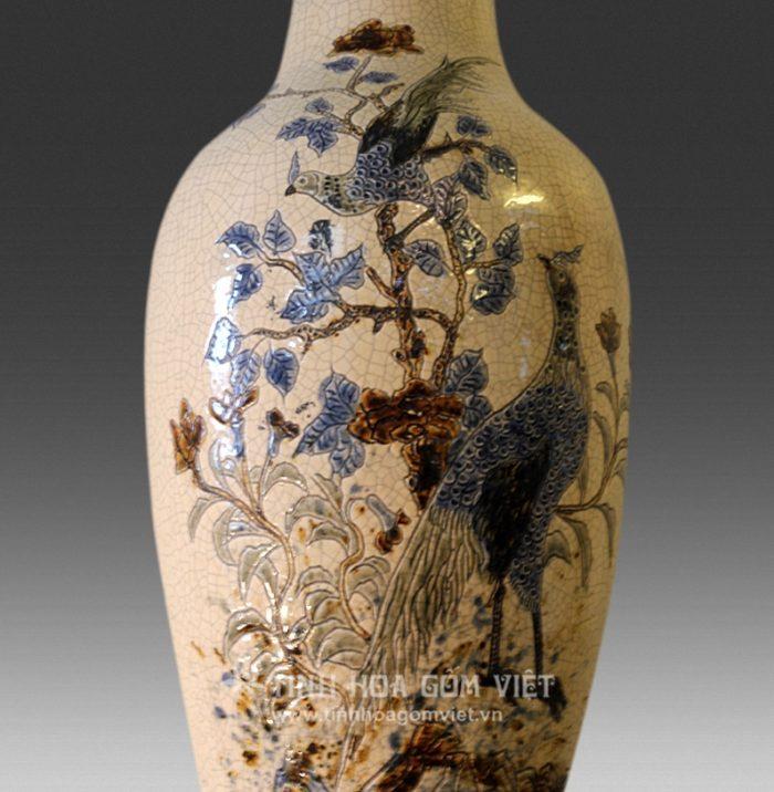 Lục bình chim hoa gốm Bát Tràng
