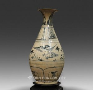 Lọ Tỳ Bà vẽ chim hoa gốm Chu Đậu