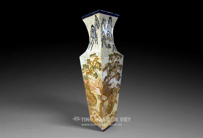 Bình tứ giác trang trí sơn thủy gốm Thành Lễ