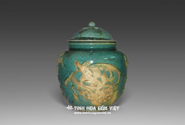 Hũ men xanh trổ đồng gốm Biên Hòa